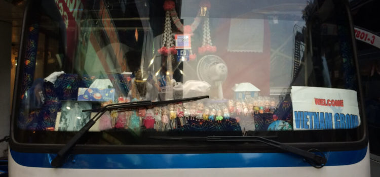 Tour buses with dolls, stuffed animals